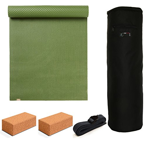 Yoga Studio-ecoYoga Starter Kit-Bausteine aus Kork, Green/Blue/Black -
