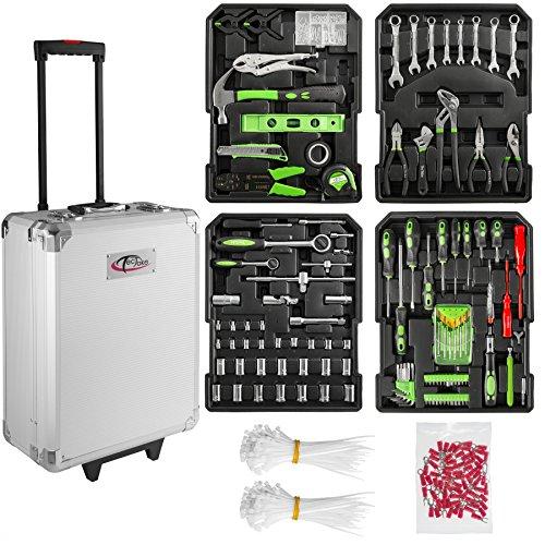 TecTake 699 teiliger Alu Werkzeugkoffer Trolley mit Werkzeug gefüllt / 4 Ebenen / Teleskopgriff 4 Fach-werkzeug-kasten