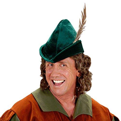 Robin Hood Hut mit Feder König der Diebe Mütze Held in Strumpfhosen Spitzhut Bogenschütze Waldhut Försterhut Federhut Mittelalter Helden Stoffhut Kopfbedeckung Karneval Kostüm Zubehör