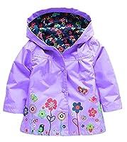 Girl's Waterproof Raincoat Windbreaker Hooded Jacket Coat Outwear Snowsuits for Age 1-6 Years (120cm(Age for 4-5), Purple)
