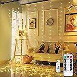 Anpro LED USB Lichtervorhang 3m x 3m, 300 LEDs USB Lichterkettenvorhang mit 8 Lichtmodelle für Partydekoration, Innenbeleuchtung, Warmweiß