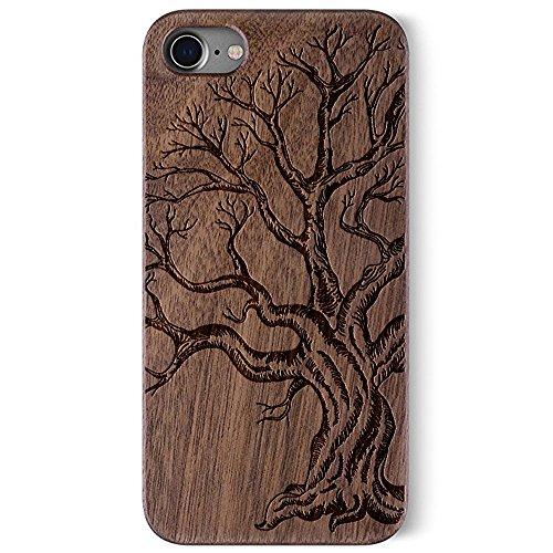 Coque Apple iPhone 7 , Coque pour iPhone 7 Bois Véritable + PC Bumper Dur Hard Housse Etui Hybride en Bois Naturel Sculpté Wood Case Cover de Protection pour iPhone 7 Walnut-Dead tree