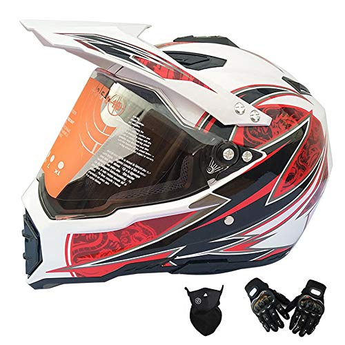 MRDEAR Casco Motocross con Visiera, Set da Casco Cross Adulto con Guanti Face Mask, Rosso e Bianco, Casco Enduro Integrale per Moto MTB off-Road ATV Scooter Downhill Sport,M