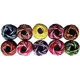 10 Bobinas de Hilo de Algodón para Ganchillar a Rayas de Colores -950 Metros- Arte del Tejido de Cordón de CurtzyTM