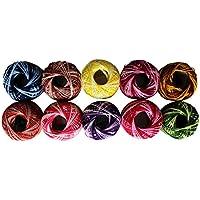 Lot de 10 Bobines de Fil en Coton pour Crochet par Kurtzy - Design à Rayures dans un Assortiment de Couleurs - Fil Polyvalent pour Différents Projets - 5 Grammes - 43 mètres de Fils - Haute Qualité