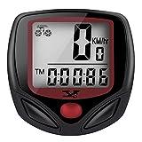 Tenswall Ordenador para Bicicleta Inalámbrico Resistente al Agua Cuentakilómetros Velocímetro con Función de Activación Automática y Pantalla LCD 15 Funciones - Rojo