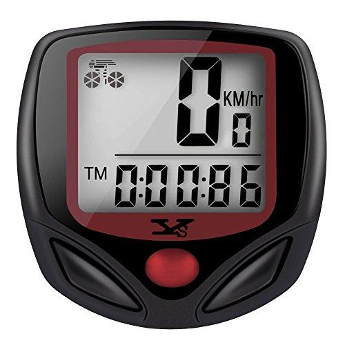 Tenswall® Ciclocomputer Wireless, Ciclocomputer, Wireless, Contachilometri per Bicicletta, Odometro digitale, 15 Funzioni, Rosso