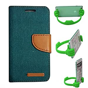 Aart Fancy Wallet Dairy Jeans Flip Case Cover for Nokia620 (Green) + Flexible Portable Mount Cradle Thumb OK Designed Stand Holder By Aart Store.