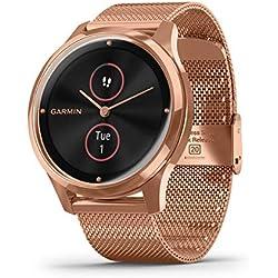 Garmin Vivomove Luxe Smartwatch Hybrid Analógico Digital Unisex, Caja Oro Rosa, Pulsera Acero Malla Milano Oro Rosa 010-02241-04