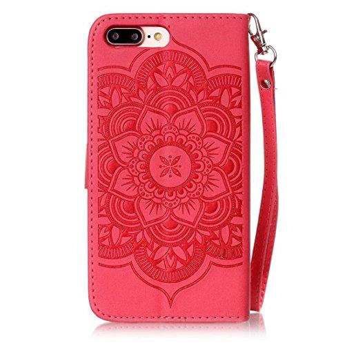 iPhone 7Plus custodia a portafoglio, Ledowp Apple iPhone 7Plus Bling Luxury Crystal Diamante in pelle PU a portafoglio, custodia full body campanula modello design custodia magnetica staccabile slot Red