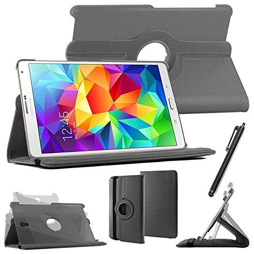 ebestStar [Kompatibel mit Samsung Galaxy Tab S 8.4 Hülle [SM-T700, SM-T705: 212.8 x 125.6 x 6.6mm, 8.4''] Rotierend Schutzhülle Etui, Schutz Hülle Ständer Rotating Case Cover Stand, Schwarz