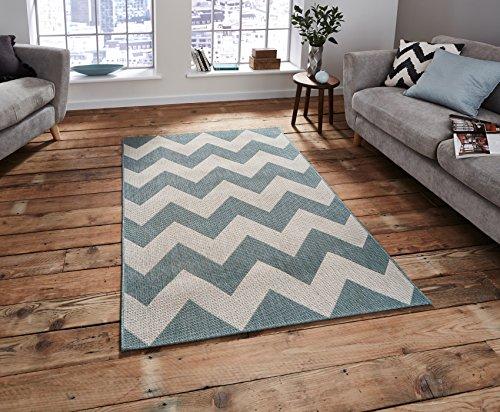 Cottage Zig Zag alfombra de tejido plano hecho a máquina polipropileno grande Durable alfombra (varios colores), azul, 160 cm x 220 cm