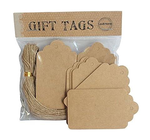 Paquet de 100 Pack étiquettes Noel marron blanc fils 4 x 7 étiquette prix festonnées