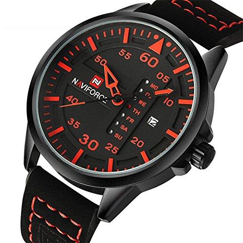 reloj-de-los-deportes-de-los-hombres-dial-negro-con-las-manos-y-el-numero-rojos