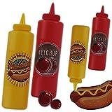 Quetschflasche Saucenspender Vintage 4er Pack Senf Ketchup 400 ml 21x6