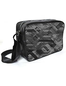 Snoogg Platz schwarz Leder Abstrakt Unisex Messenger Bag für College Schule täglichen Gebrauch Tasche Material PU