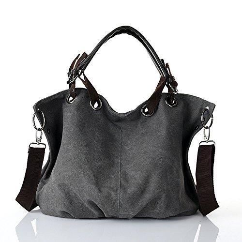 Mefly Europäische und amerikanische Fashion Handtasche Canvas Tasche große Handtasche gray