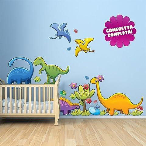 R00028 Adesivo murale per bambini Wall Art - Dinosauri colorati - Misure 120x90 cm - Decorazione parete, adesivi per muro, carta da parati