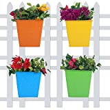 #7: Wonderland (Set of 4) Square Bucket Self Embossed Railing Planter for Home, Garden, Balcony Decor, Decoration, Garden pots and Planters