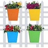 #10: Wonderland (Set of 4) Square Bucket Self Embossed Railing Planter for Home, Garden, Balcony Decor, Decoration, Garden pots and Planters