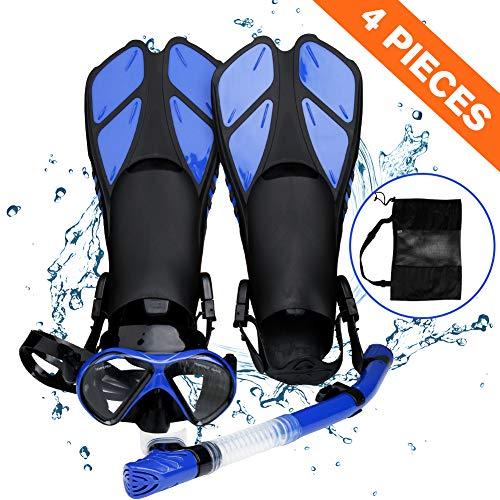 Esnórquel settauch Set, Snorkel Set,Gafas de Buceo,Funda Aletas, Gafas de Buceo Buceo Swim Mask Snorkel Aletas Snorkel para Adultos y Jóvenes (Azul)