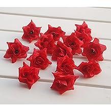 50x Cabezas de Flores Rosa A Granel Artificial Seda Triángulo Decoración Boda Partido Rojo