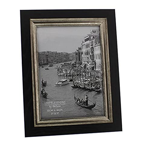 Wood Effect Black Photo Frame with Antique Style Silver Border - 5