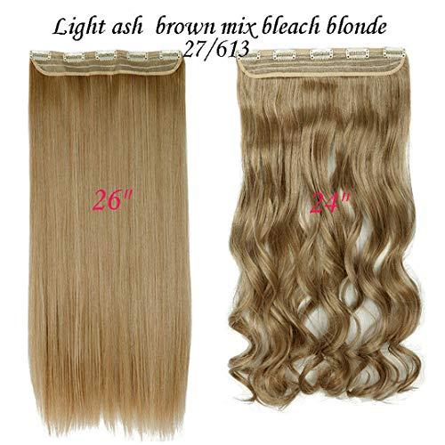 3/4 Full Head Cllip In Haarverlängerung Schwarz Braun Naturhaar Synthetik Einteiliges Glattes Haar Für Frauen 27-613 26Inch-Straight