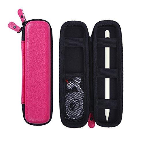 HDE Leder Apple Bleistift Fall Halter Smart Pen Eingabestift Hard Shell Cover Tasche für für iPad Pro Pen, Samsung S3S Pen, Livescribe 3Smartpen hot pink