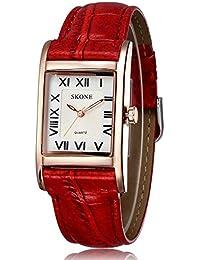 Skone Mujer Rojo Piel Band Roma Números cuarzo relojes Oro Rectángulo Esfera Blanca, 505808