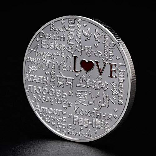 WanTo Gedenkmünze Liebe Vögel Paar fliegen Sammlung Münzen Souvenir vergoldet Legierung Silber Gold Kunst Geschenke Wohnkultur, Gold -