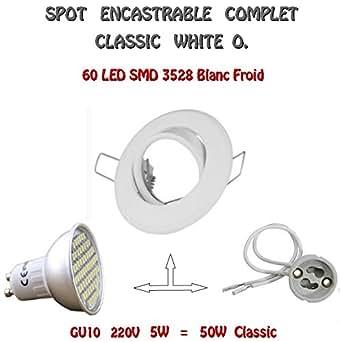 SPOT ENCASTRABLE COMPLET CLASSIC WHITE ORIENTABLE GU10 60 LED BLANC FROID 220V
