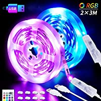 LED Strips Lights, 6M USB LED Lights 2x3M SHINELINE RGB SMD 5050 Color Changing with 24 Key Remote Control DimmerTV Backlight Mood Light for Home Kitchen Christmas Party Decoration