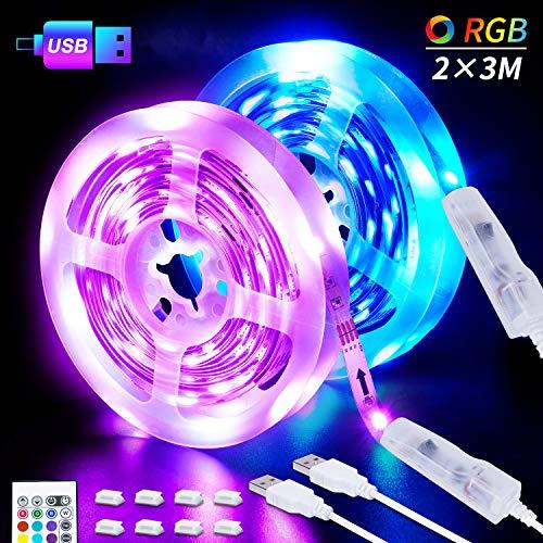 LED-Strip, 6M USB LED Streifen 2 X 3M SHINELINE RGB LED Band 5050SMD Lichtband mit 24 Tasten Fernbedienung 16 Farben 4 Modi dimmbarLED TV Hintergrundbeleuchtung für Zuhause, Schlafzimmer, TV, MEHRWEG