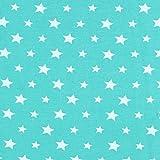 Fabulous Fabrics Jersey farbige Sterne türkis —