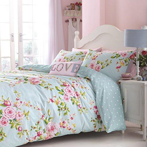 Catherine lansfield canterbury completo letto, cotone, blu, alla francese