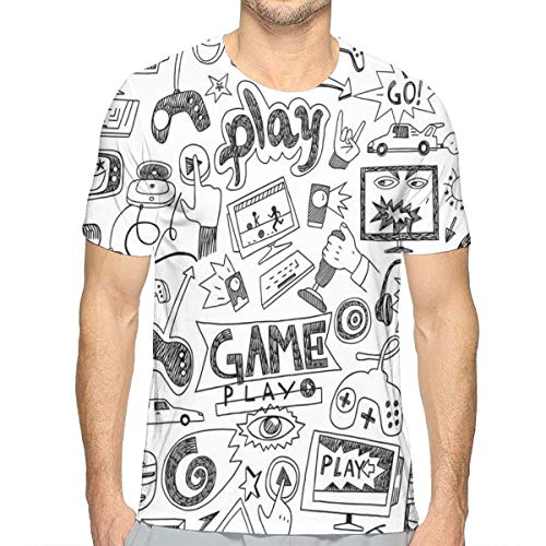 3D Printed T Shirts,Monochrome Sketch Style Gaming Design Racing Monitor Device Gadget Teen 90s L