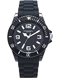 Cannibal Unisex Quartz Watch with Black Dial Analogue Display and Black Silicone Strap CJ209-03