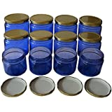 Pure Source India Set Of 12 Pcs Good Quality 150 Gram Capacity Blue Color Round Glass Jar With Good Quality Gold Color Cap As In Picture ,Suitable To Use In Your Home, Kitchen , Office , To Store Your Impotent Item ,it's Natural Glass And Rust Proof Cap,