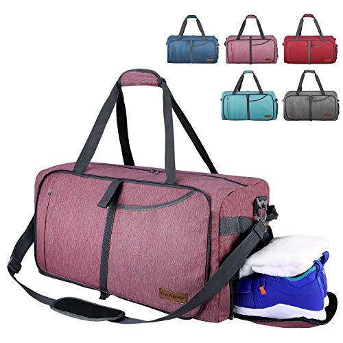 CANWAY Faltbare Reisetasche faltbar leichte Sporttasche mit Abnehmbarem Schulterriemen und Schuhfach Reisegepäck für Reisen Sport Gym Urlaub mit der Großen Kapazität (Dunkelrot, 85L)