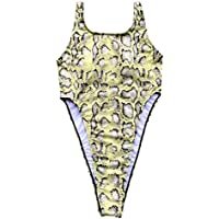 Badeanzug Damen Bauchweg 2019 Sexy Einteiler Bademode Damen Schlangenhautdruck Monokini Schwimmanzug Badebekleidung Damen S M L,