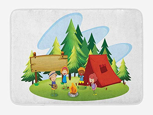 BUZRL Camping Bath Mat, Children Dancing Around The Campfire Cartoon Style Spring Forest with Lush Trees, Plush Bathroom Decor Mat with Non Slip Backing, 23.6 W X 15.7 W Inches, Multicolor (Rv-monster-truck)