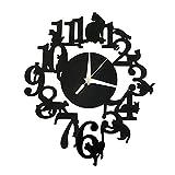 Forepin Design Moderno Deluxe Tridimensionale 3D Orologi da Parete Sticker Decorativi Acrilico Plastica Specchio Numeri Murales Sticker Wall Watch Clock Casa Ufficio Hotel Ristorante Decorazione Modello 6 - Gatto Sulla Mensola