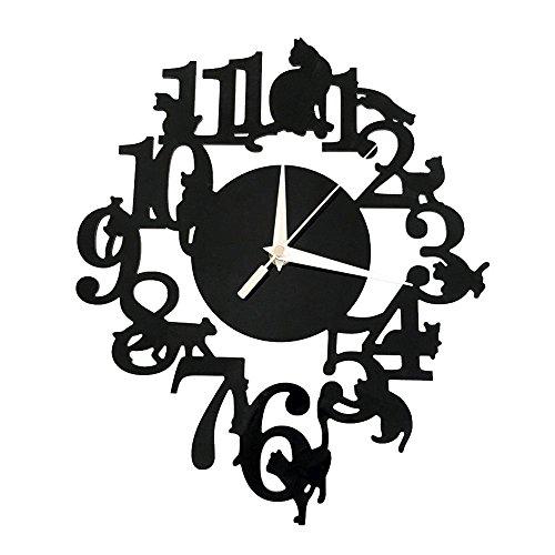 Forepin® design moderno deluxe tridimensionale 3d orologi da parete sticker decorativi acrilico plastica specchio numeri murales sticker wall watch clock casa ufficio hotel ristorante decorazione modello 6 - gatto sulla mensola