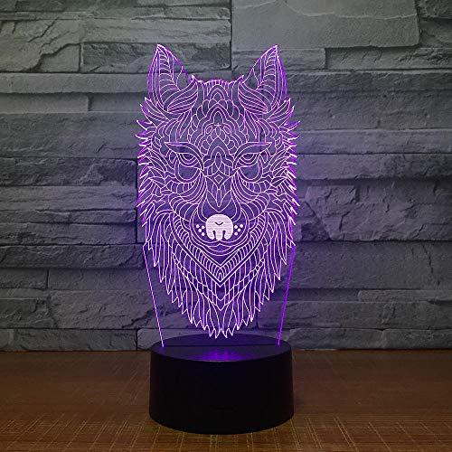 Zcmzcm 3D Nachtlichter Wolf Kopf 3D Nachtlichter Bunte Automatische Led Lichter Halloween Geschenk Großhandel Usb Led 3D Lampe Kinderzimmer Kinder Lampe