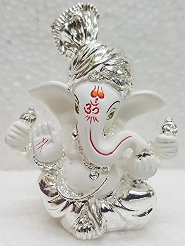 Gold Art India Silver Plated Terracotta Ganesha Idol - (6x4x3cm, Silver)