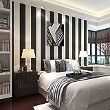 BTJC rayas blancas y negras cl¨¢sicos no tejida papel pintado moderno de sala de estar minimalista TV tel¨®n de fondo de ancho del papel pintado a rayas verticales