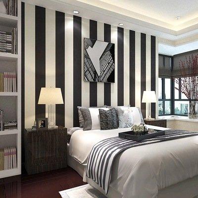 Classique Noir et blanc rayé papier peint moderne simple non–tissé