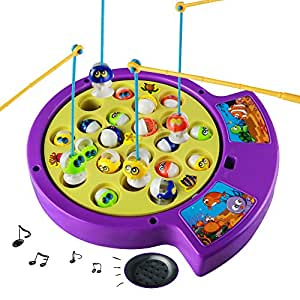Electric musical fishing game magnetic rotating fishing for Fishing games for girls