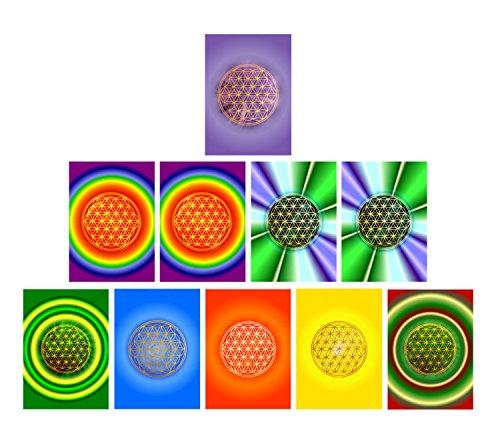 atalantes spirit Blume des Lebens - Energiebild, Postkarte, 10 Stück im Sortiment